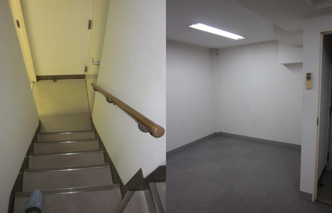 (左)地下室に向かう階段(リノベーション前)   (右)倉庫だった地下室。灰色タイルカーペットとホワイトの壁紙の無機質な空間でした。