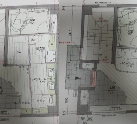 パナホームから提案して頂いた玄関の間取り案(2案)