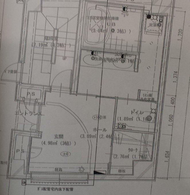 1F玄関間取り(検討中)。玄関は三和土(たたき)/土間とホールを合わせて5.4帖あります。ウォークインシューズクローゼットは1.7帖あります。子供用自転車1台とキックボード3台を収納しても余裕です。