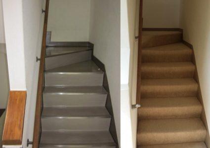 階段リノベーション/事務所階段を住宅用絨毯カーペット階段へ