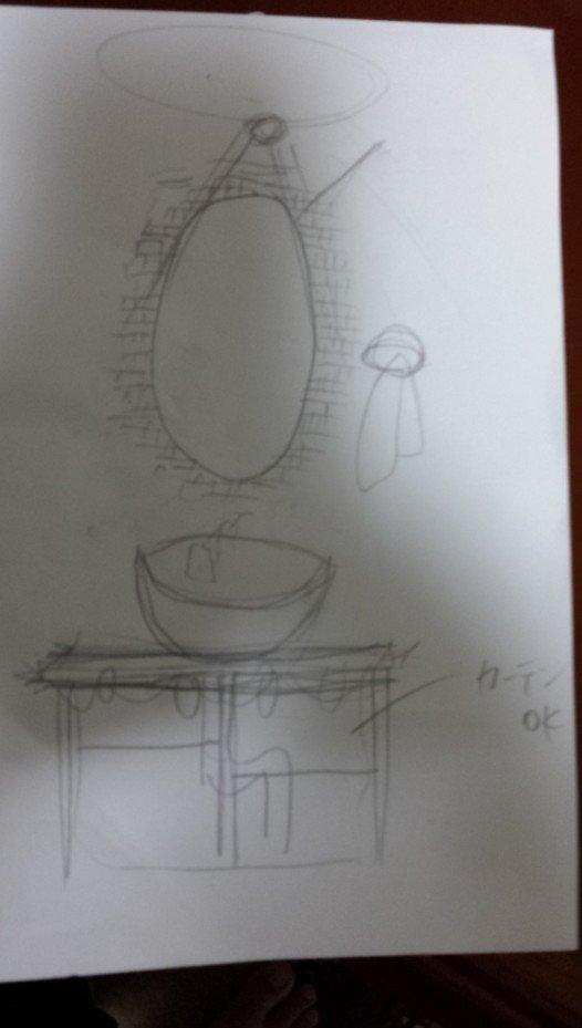 妻が描いた洗面所のデザインです。