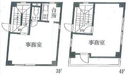 事務所ビルの3階と4階の比較です。