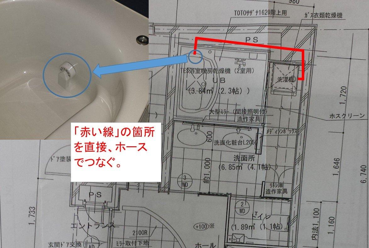 ノコリーユECOのホース接続図(浴槽⇔洗濯機)