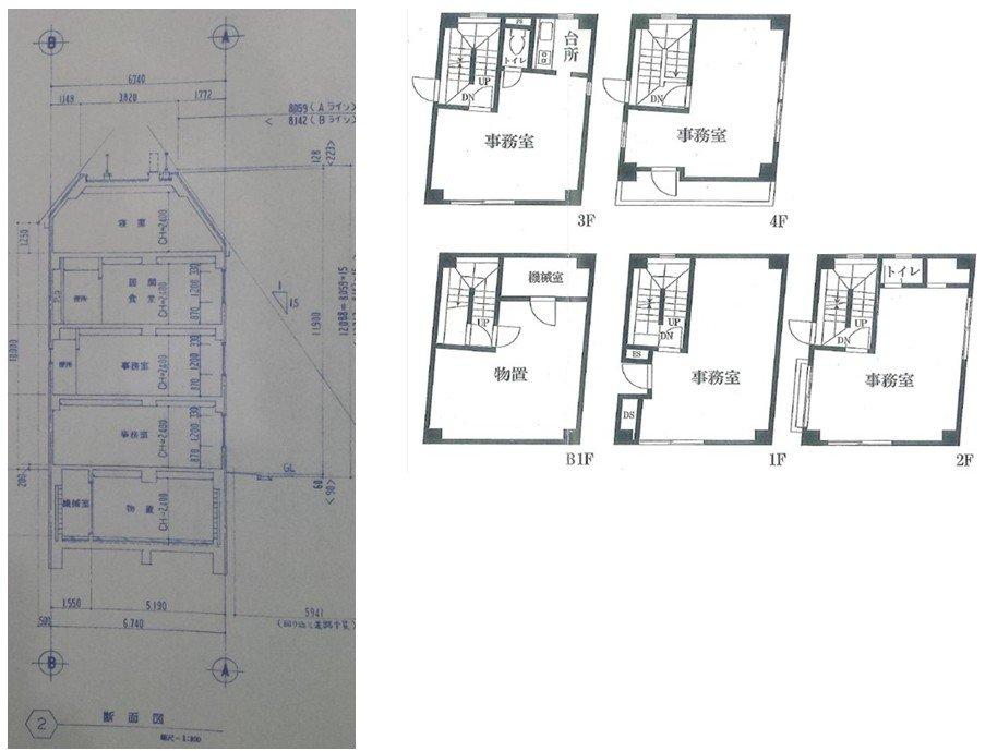 築15年地下室付き4階建RC事務所ビル図面