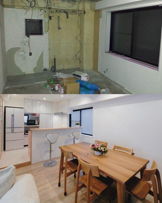 造作対面式キッチンカウンター