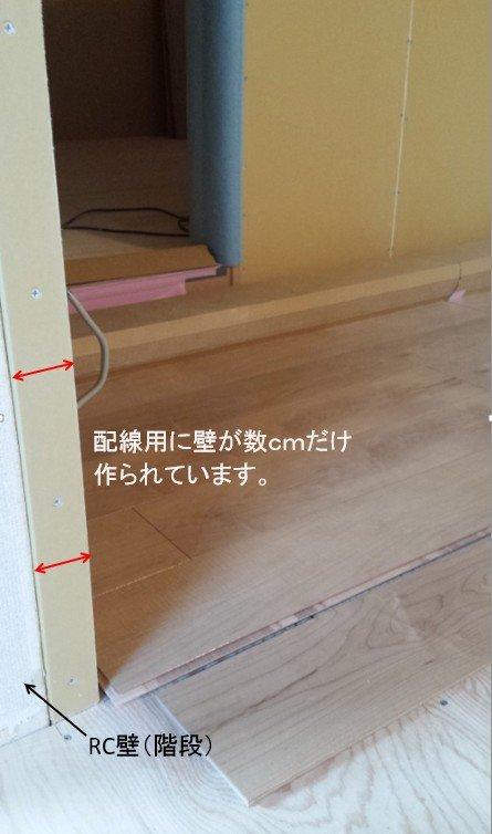 ふかし壁。電気配線用に壁を数cmだけ意図的に厚くした壁です。