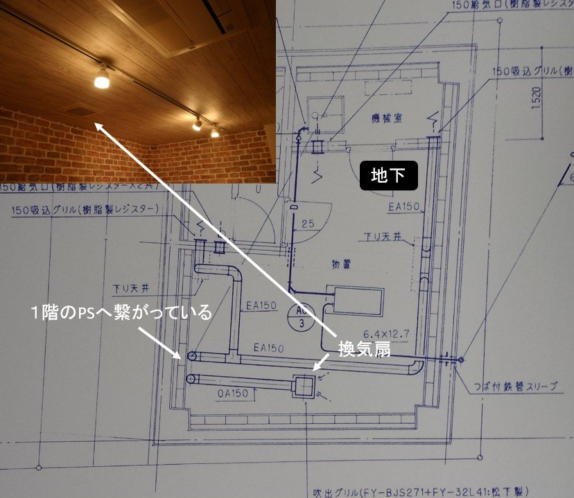 リノベーション前の地下1階の配管図面