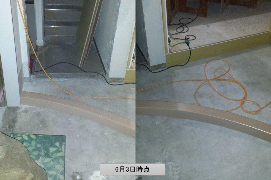 上がり框(R框)の施工途中。框をコンクリートスラブに直置き