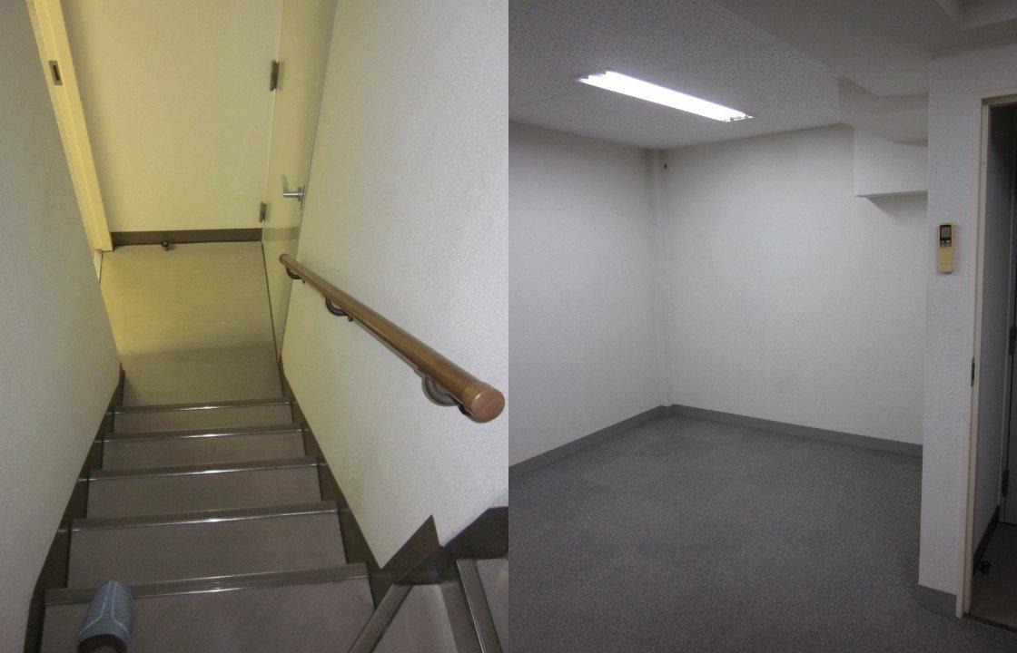 地下室に続く階段(左)と地下室(リノベーション前)