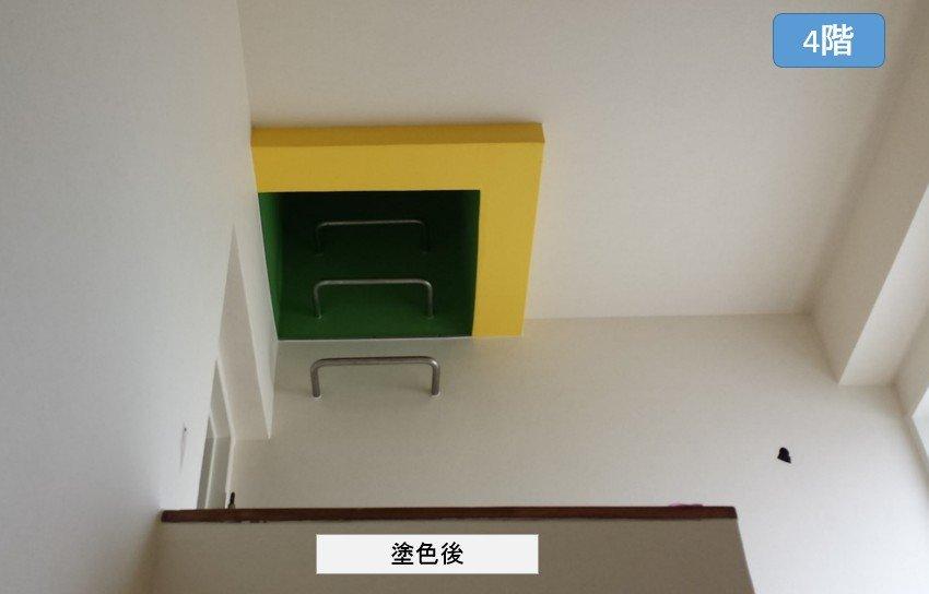 垂直梯子周辺の塗色後