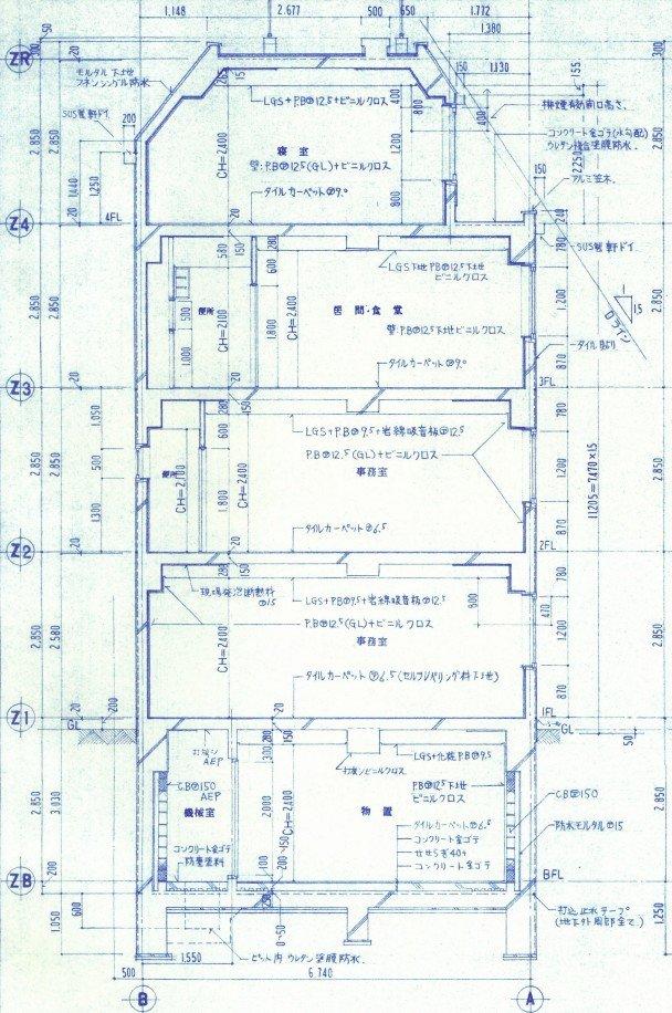 4階建て住宅 断面詳細図