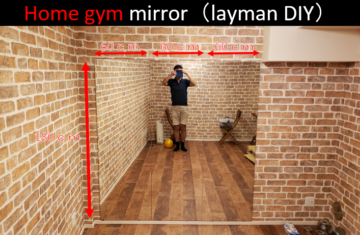 Size of home gym muscle training mirror (60cm wide x 180cm high x 3 mirrors)