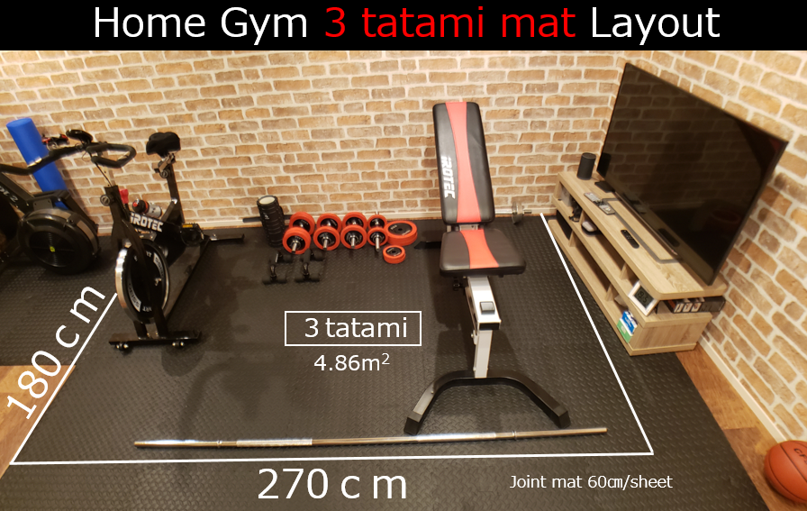 Home Gym 3 tatami mat Layout
