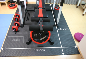 Area of mats needed for Irotech home gym installation