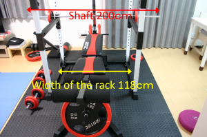 Irotech R140 Power Rack the length of shaft and width of power rack