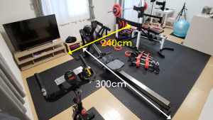 Space required for the installation of a power rack (Muscular Set R140) as a home gym is 4.5 tatami mats