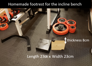 Homemade footrest for the incline bench Muscular Set R140