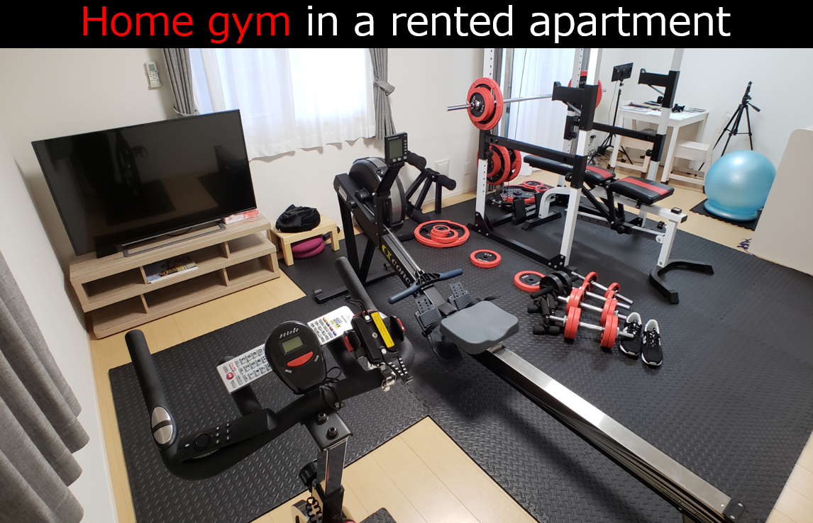 home gym in a rented apartment