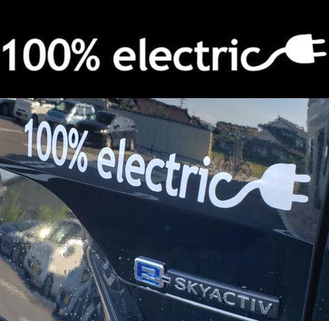 電気自動車 EV カーステッカー 100% electric